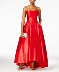Betsy And Adam Strapless High Low Ball Gown Red