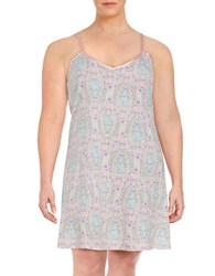 Lord And Taylor Plus Printed Chemise Paisley Pink