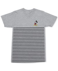 Mighty Fine Men's Mickey Mouse Pose Stripe Graphic Print Cotton T Shirt Heather Grey
