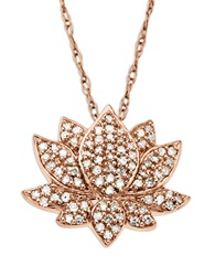 Lord And Taylor 14 Kt. Rose Gold Diamond Lotus Flower Pendant
