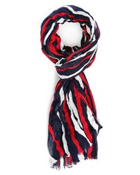 Ikks Black Red Zebra Striped Scarf