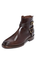 Frye Weston Cross Strap Boots Dark Brown