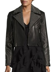 Alice Olivia Cody Studded Leather Moto Jacket Black Gunmetal