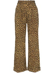 Mara Hoffman Caressa Leopard Print High Waisted Wide Leg Trousers Brown