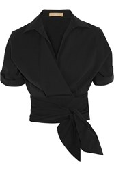Michael Kors Cotton Poplin Wrap Shirt Black