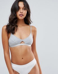 Pieces Bralet With Cut Out Detail Grey