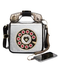 Betsey Johnson Off The Hook Phone Small Crossbody Silver