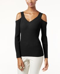 Inc International Concepts V Neck Cold Shoulder Sweater Only At Macy's Deep Black