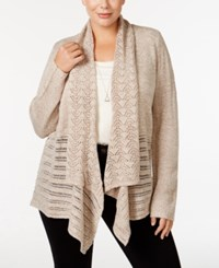 Karen Scott Plus Size Open Front Pointelle Cardigan Only At Macy's Beige Marl