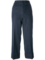 Pt01 Flared Cropped Trousers Blue