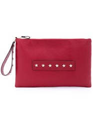 Red Valentino Star Studded Clutch Women Calf Leather Metal One Size Red