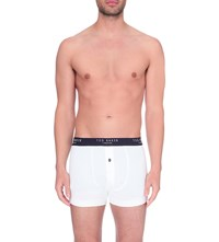 Ted Baker Button Front Stretch Cotton Boxers White