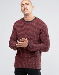 Only And Sons Knitted Crew Neck In Waffle Rosewood Red