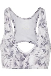 Varley Walsh Cutout Floral Print Stretch Sports Bra White