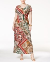 Style And Co Plus Size Mixed Print Maxi Dress Only At Macy's Bohemian Frames