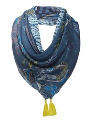 Oui Tribal Scarf With Tassel End Blue