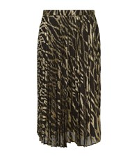 Reiss Connie Metallic Pleated Skirt Female Black