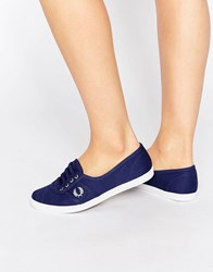 Fred Perry Aubrey Twill Navy Plimsoll Trainers French Navy Dusty A