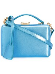 Mark Cross Mini Grace Box Tote Blue