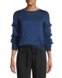 Red Valentino Crewneck Ruffle Trim Long Sleeve Metallic Knit Sweater Blue