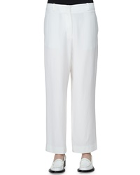 Acne Studios Flat Front Low Rise Cropped Pants White