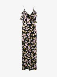 Marni Floral Print Silk Long Dress Black Multi Coloured Pink White Yellow