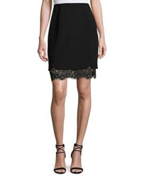 J. Mendel Layered Lace And Crepe Skirt Black Noir