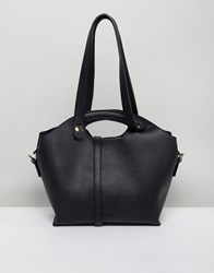 Melie Bianco Vegan Leather Handheld Bag With Optional Strap Black