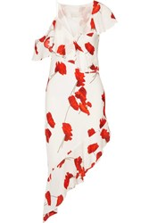 Michelle Mason One Shoulder Floral Print Voile Dress White