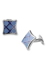 Men's David Donahue Sterling Silver Cuff Links Blue