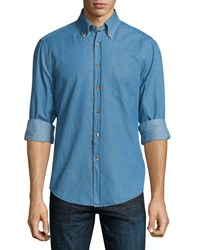 Brunello Cucinelli Slim Fit Denim Shirt Baby Blue