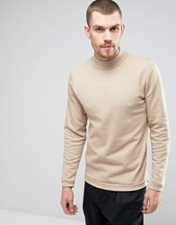 Casual Friday Sweatshirt With High Neck Beige