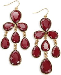 Inc International Concepts Gold Tone Red Chandelier Earrings Only At Macy's