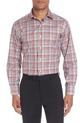 Lorenzo Uomo 'S Trim Fit Check Dress Shirt Orange Navy