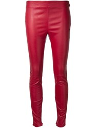 Saint Laurent Mid Rise Leather Leggings Red