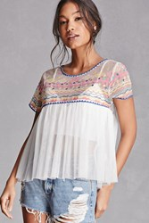 Forever 21 Sheer Embroidered Babydoll Top White