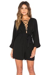 Lucca Couture Lace Up Tie Romper Black