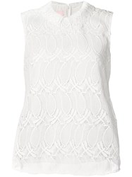 Giamba Embroidered Sleeveless Vest Top White