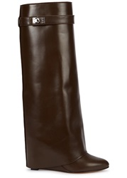 Givenchy Chocolate Fold Over Leather Knee Boots Brown