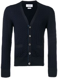 Thom Browne Cable Knit Cardigan Blue
