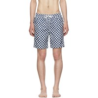 Onia Blue Hand Drawn Checker The Charles 7 Swim Shorts