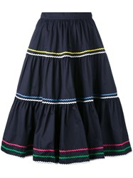 Anna October A Line Skirt Women Cotton M Blue