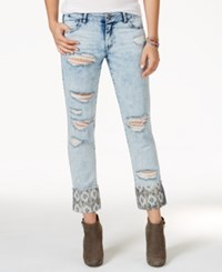 Rewash Juniors' Ripped Printed Cuff Light Wash Cropped Jeans