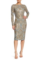 Dress The Population Emery Sequin Sheath Teal Gold