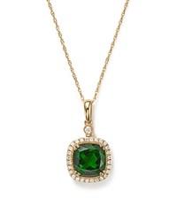 Bloomingdale's Chrome Diopside And Diamond Halo Pendant Necklace In 14K Yellow Gold 18 100 Exclusive Green Gold
