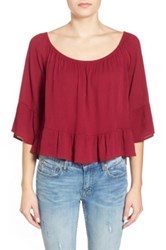 Living Doll Bell Sleeve High Low Peasant Top Juniors Red