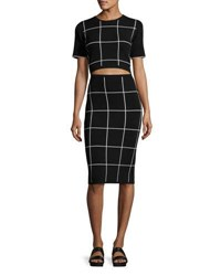 Grey By Jason Wu Short Sleeve Windowpane Sheath Dress W Cutout Waist Multi