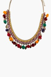 Boohoo Pom Pom Necklace Multi