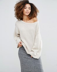 Shae Olivia Cashmere And Wool Mix Wide Neck Jumper Almond Beige