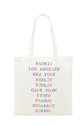 Forever 21 City Graphics Eco Canvas Tote Beige Multi